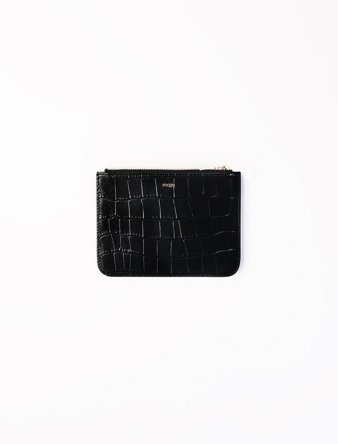 Pochette zippée en cuir embossé -  - MAJE