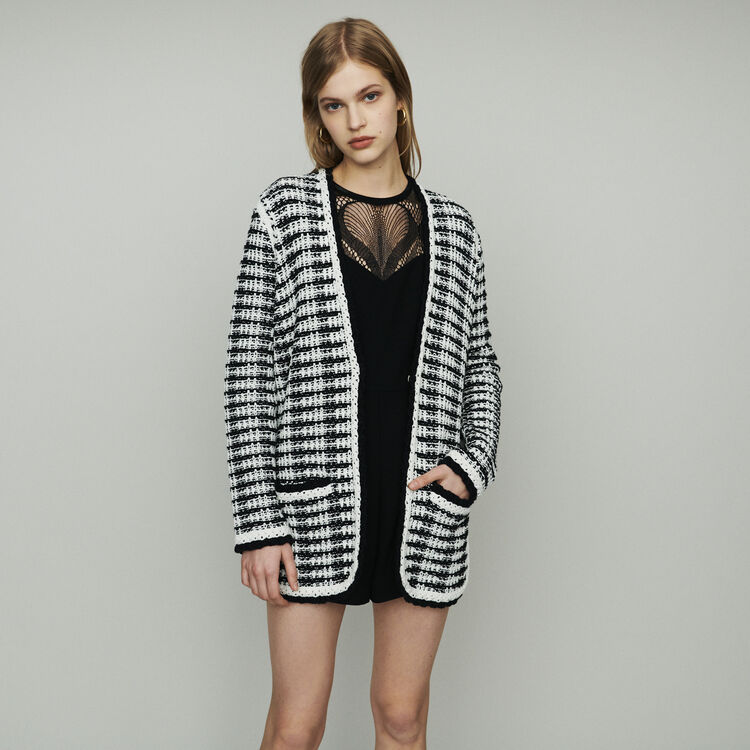 Long cardigan jacket in tweed-style : Knitwear color Two-Tone