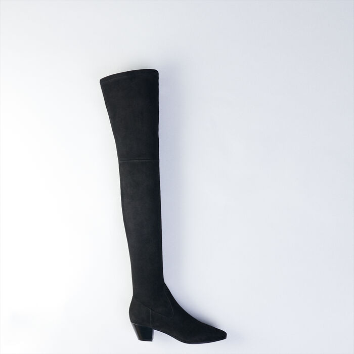 Stretch velvet goat leather thigh boots : Booties & Boots color Black