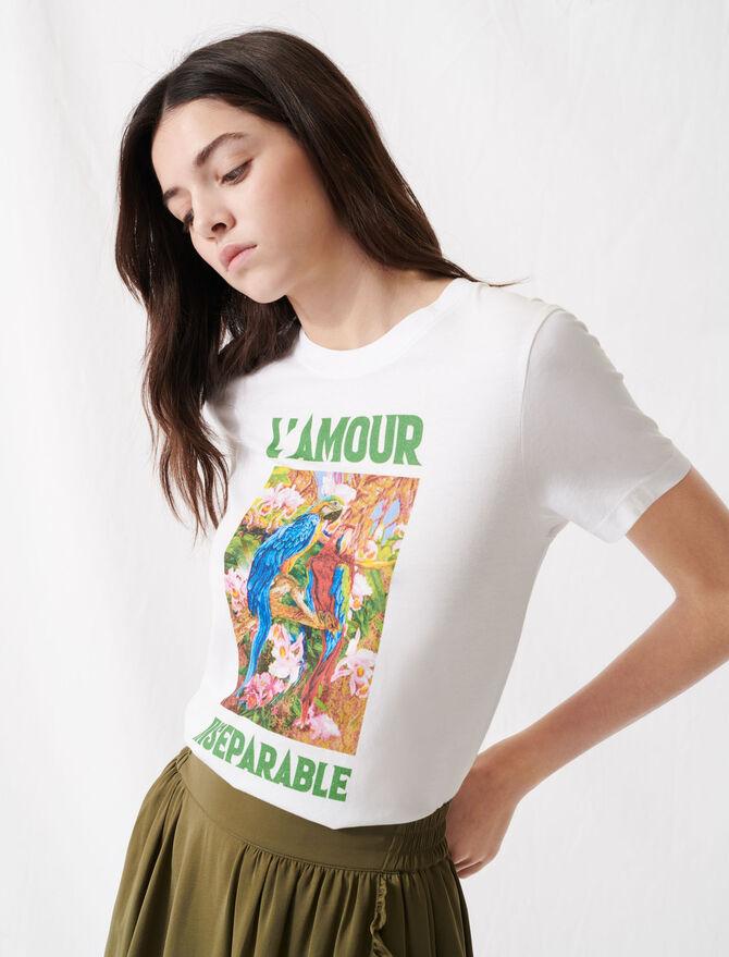 T-shirt blanc sérigraphié - Pap_Tshirts - MAJE