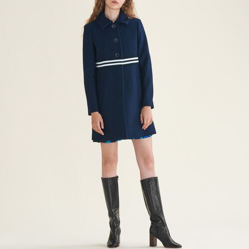 Straight-cut coat in wool and cashmere : Coats color Navy