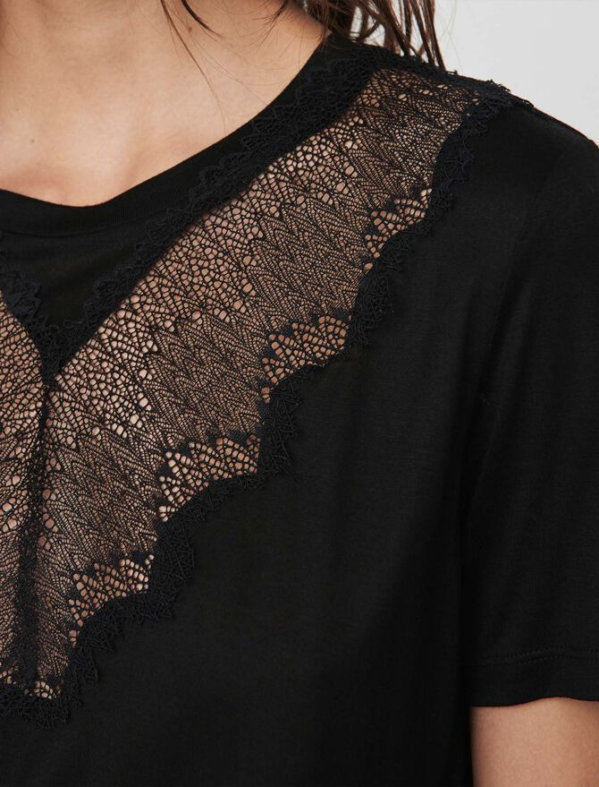 T-shirt with lace trim - -30% - MAJE