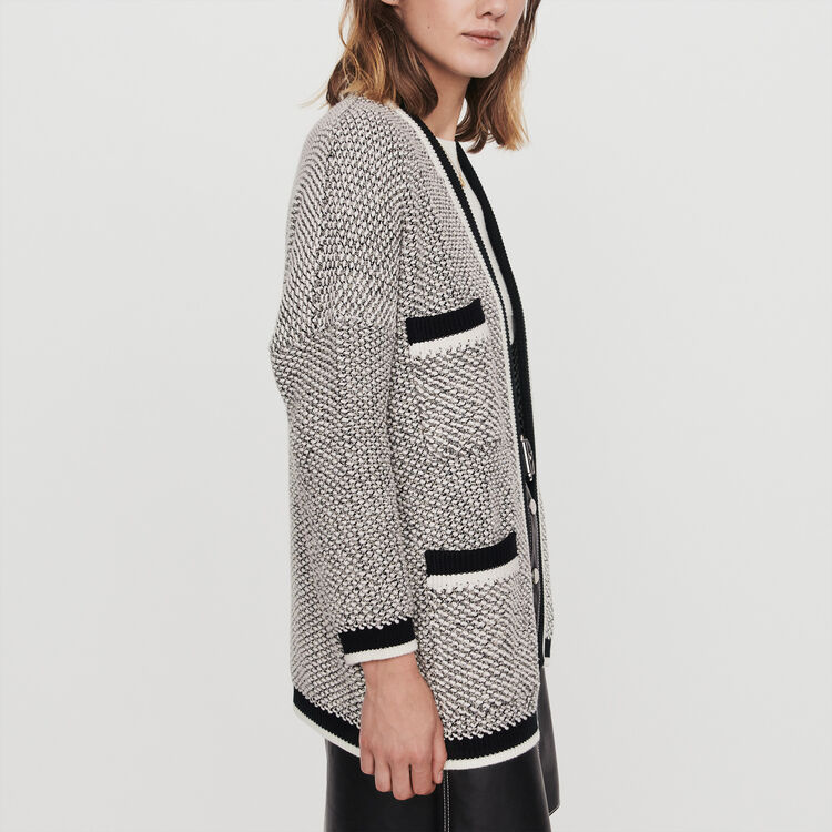 Cardigan with contrast stripes : Pullovers & Cardigans color Black