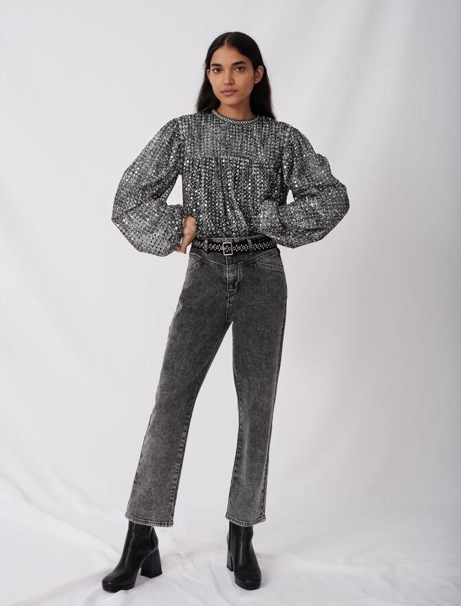 Straight cut jeans with fancy belt - Trousers & Jeans - MAJE