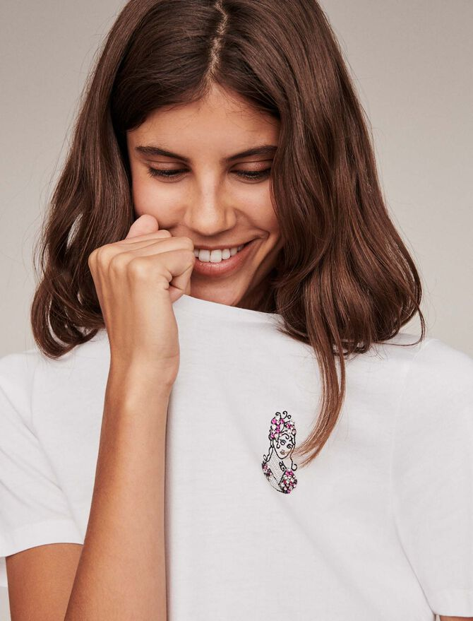 Embroidery and strass cotton t-shirt - T-Shirts - MAJE
