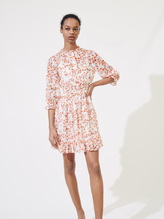 Printed smocked dress - Dresses - MAJE
