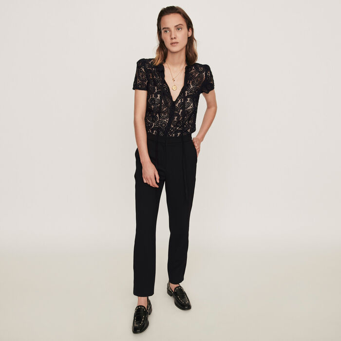 Guipure and crepe jumpsuit : Winter collection color Black