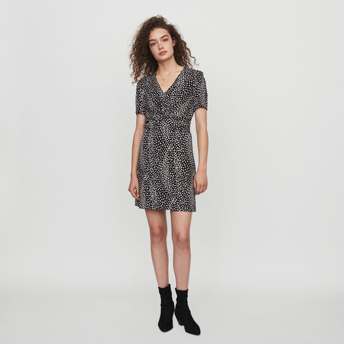 Gathered dress in printed jacquard : Winter collection color Black