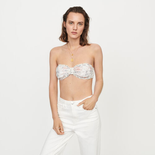 Floral-print cotton bra and panties : All the collection color Pink