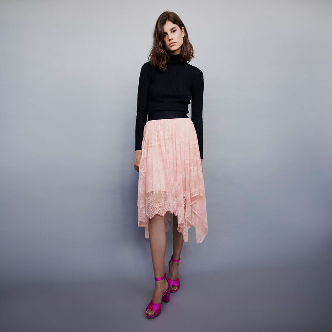 Elasticated asymmetrical lace skirt - staff private sale 20 - MAJE