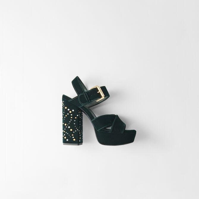 Studded velvet platform sandals -  - MAJE