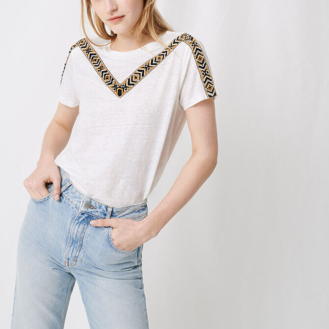 White T-shirt with tied back -  - MAJE