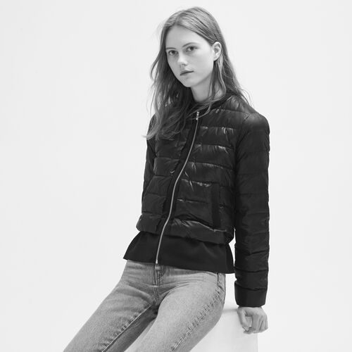 Lightweight down jacket with peplum : Coats color Black 210