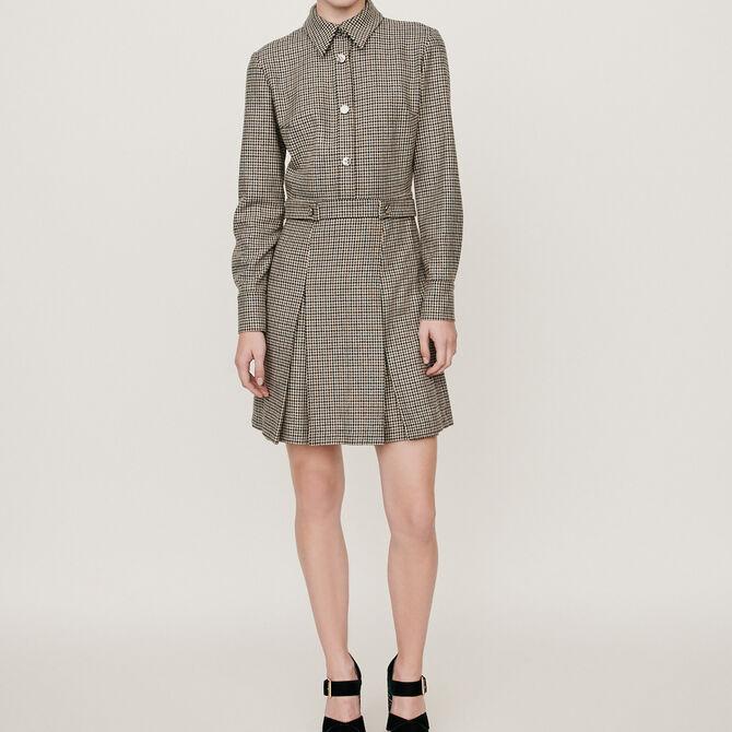 Robe-chemise à imprimé prince-de-galles -  - MAJE