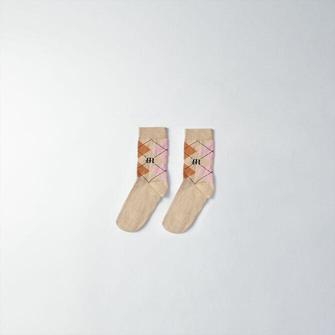 Chaussettes en coton à carreaux -  - MAJE