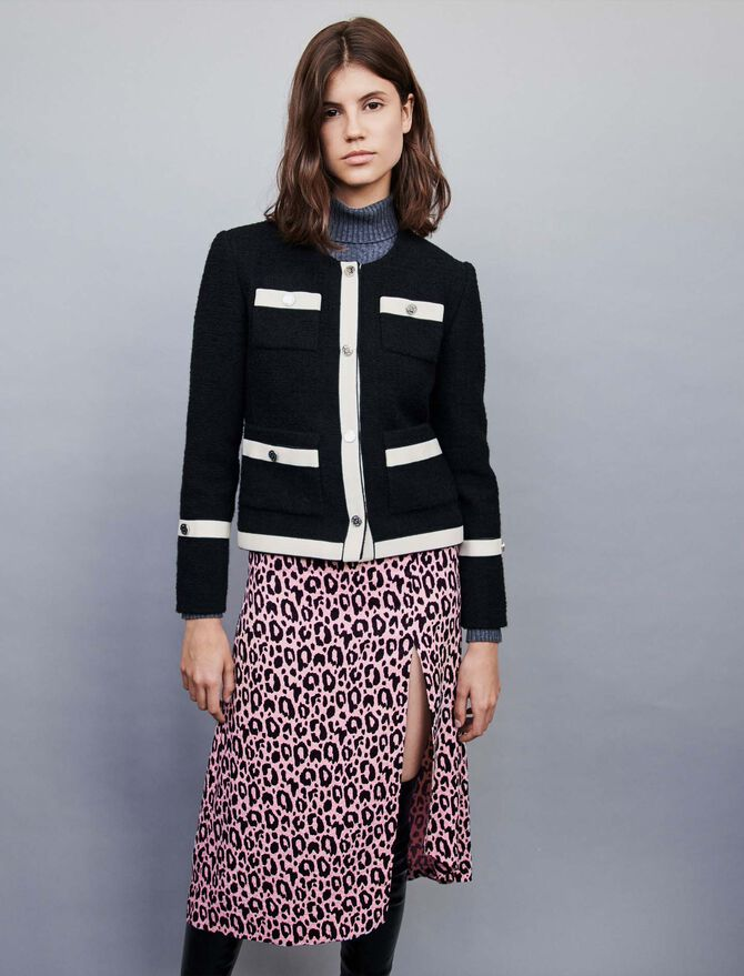 Tweed-style jacket with contrast stripes -  - MAJE