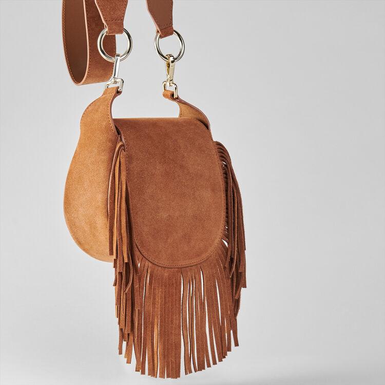 Suede fringe Gyps handbag : Winter collection color Cognac