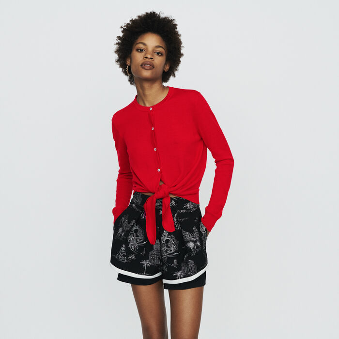 Knotted cardigan : Pullovers & Cardigans color Red