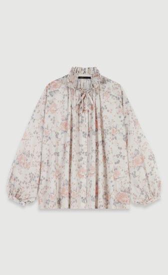 Floral-print cotton voile shirt