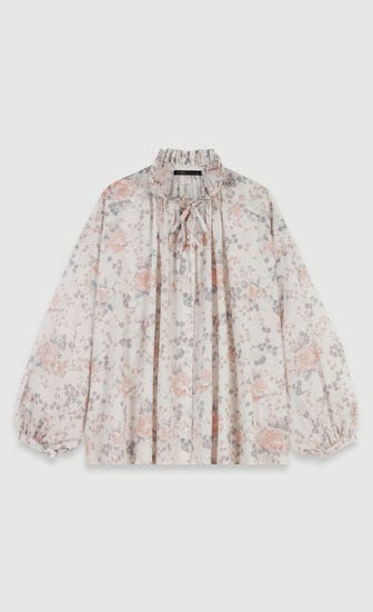 Floral-print cotton voile shirt