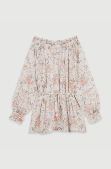 Printed-cotton voile smock dress