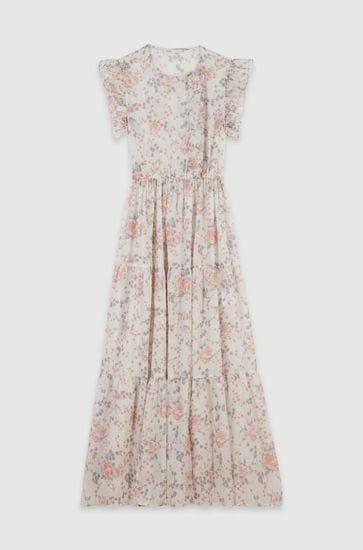 Long floral-print ruffled dress