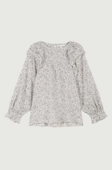 Floral-print ruffled top