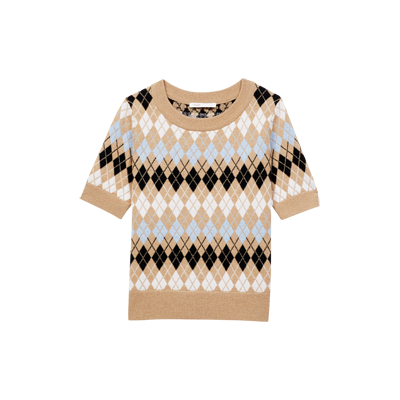 Pull manches courtes en jacquard - New_Collection-Ete - MAJE