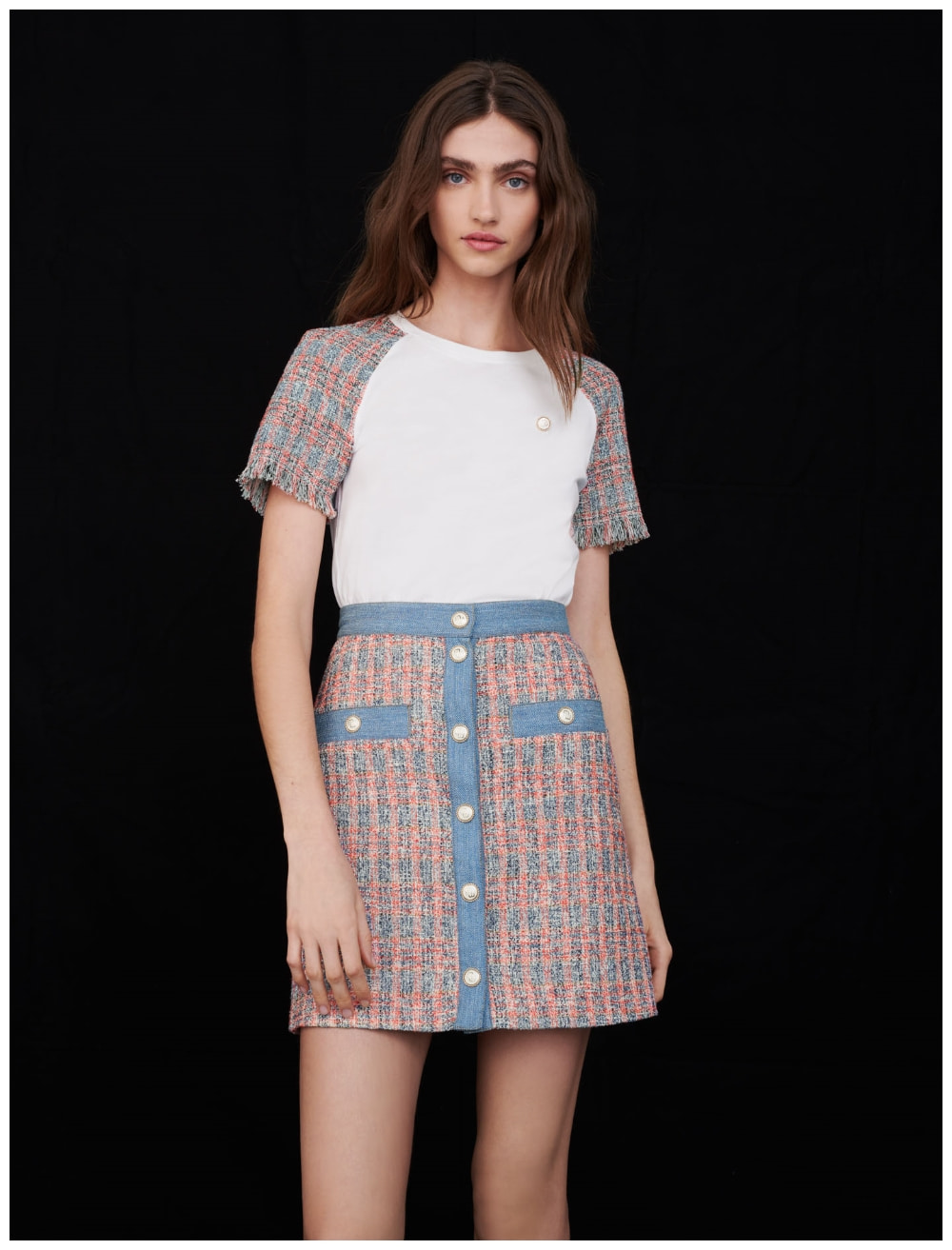 Tweed skirt with denim contrasts - Skirts & Shorts - MAJE